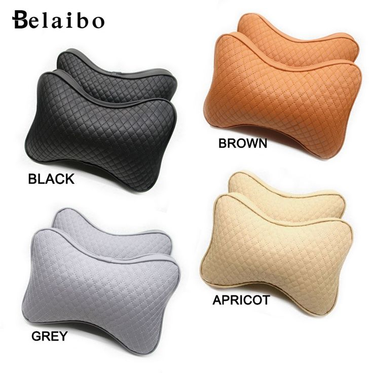 2/Pcs Fixed seat Cream Genuine leather headrest neck Car Auto Seat cover Head Neck Rest Cushion Headrest covers car-styling