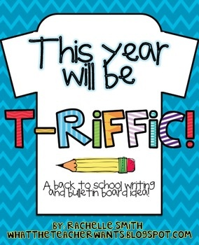 Your back to school bulletin board will look T-riiffic with this packet!: Schools Bulletin Boards, Back To Schools, Schools Ideas, Years Bulletin, Boards Formations, Schools Writing, Writing Boards, Boards Ideas, Students Teaching