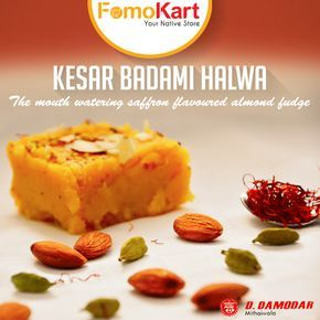 Almonds and cashew nuts are blended with rich flavours of Kesar to make this delicious Special Kesar Badami Halwa. Order at www.fomokart.com for fresh deliveries