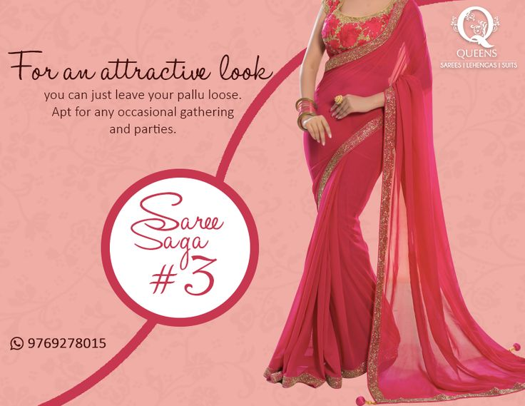There is something incredibly attractive about a loose pallu. So ditch those pins. ‪#‎QueensEmporium‬ ‪#‎SareeSaga‬ ‪#‎Saree‬ ‪#‎tips‬