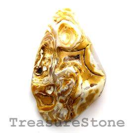#Cabochon, agate, 36x57mm freeform. #TreasureStone Beads Edmonton.