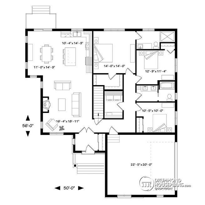 W3284 cjg three bedroom home with open floor plan for House plans with side entry garage