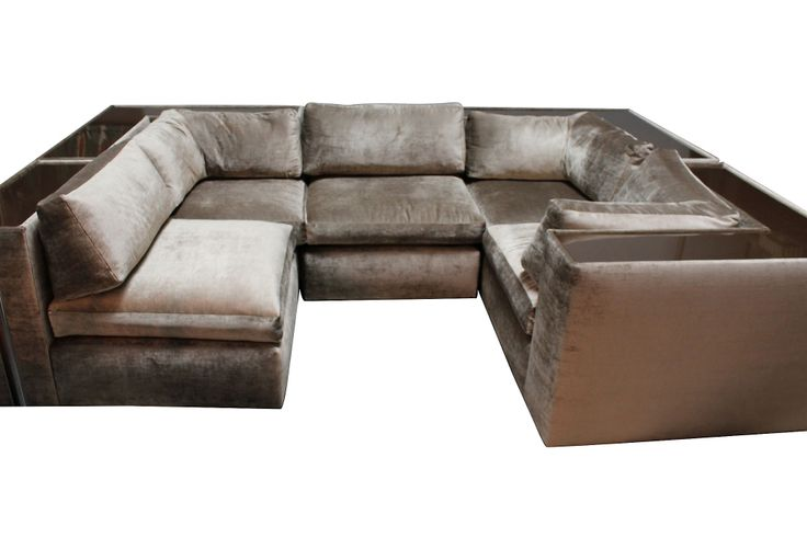One Kings Lane - Gilded Edge - Milo Baughman Sectional Sofa