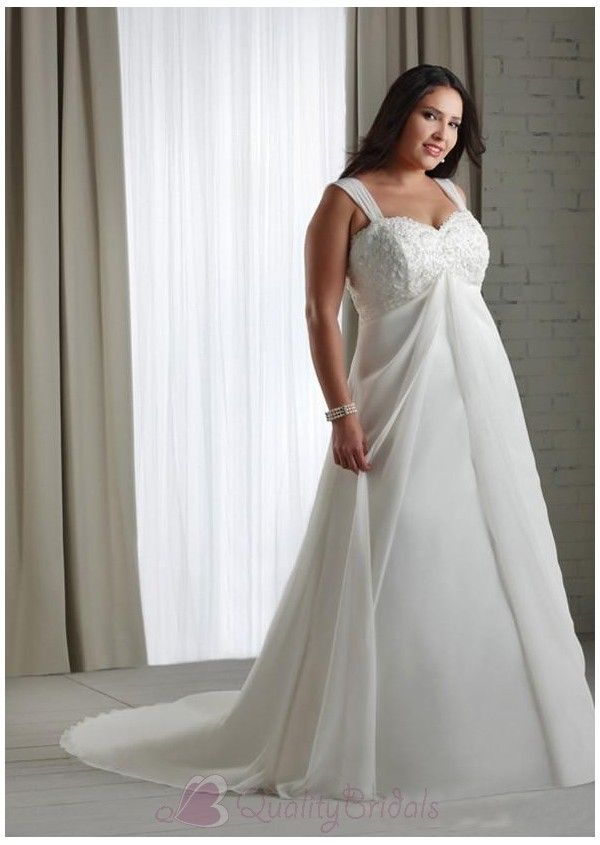 Awesome Empire Sweetheart Floor-Length Chapel Beaded Wedding Dresses with Detachable Straps W1794