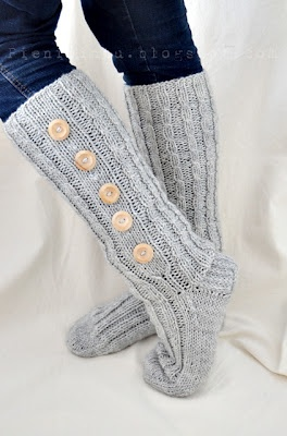Long socks with buttons
