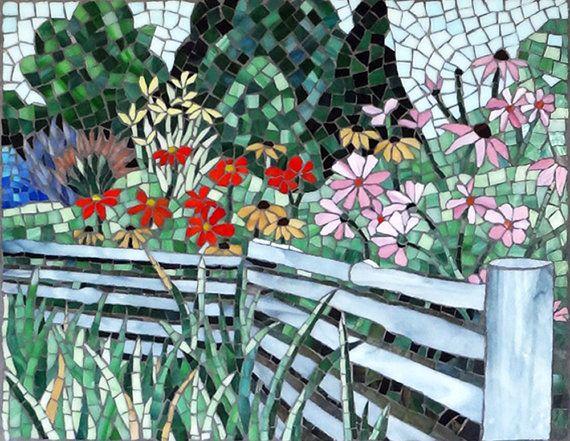 Stained glass mosaic of Door County, Wisconsin; Ephraim Wildflowers is a handmade original