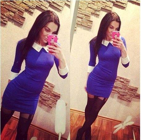 2014 зима и осень отложным воротником свободного покроя элегантный платье дамы офис женщины рабочая одежда мода новый бренд 3 цвет свадебные платья QAF019, принадлежащий категории Платья и относящийся к Одежда и аксессуары на сайте AliExpress.com | Alibaba Group