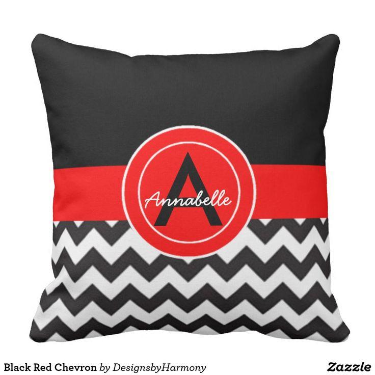 Black Red Chevron Throw Pillow