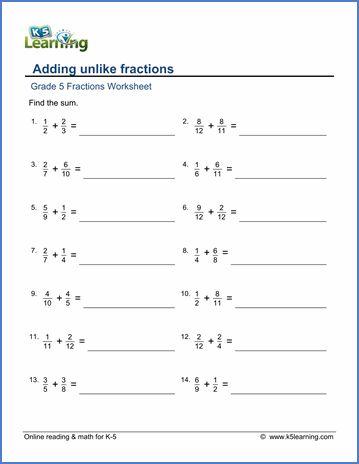 grade 5 fractions worksheet adding unlike fractions math fractions worksheets multiplying. Black Bedroom Furniture Sets. Home Design Ideas