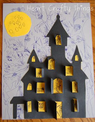 I HEART CRAFTY THINGS: Haunted House Craft. This would be a cute addition on a page in our pen pal journal!