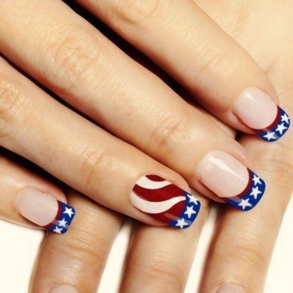 30+ American Flag Inspired Stripes and Stars Nail Ideas Tutorials ❤ liked on Polyvore featuring beauty products and nail care