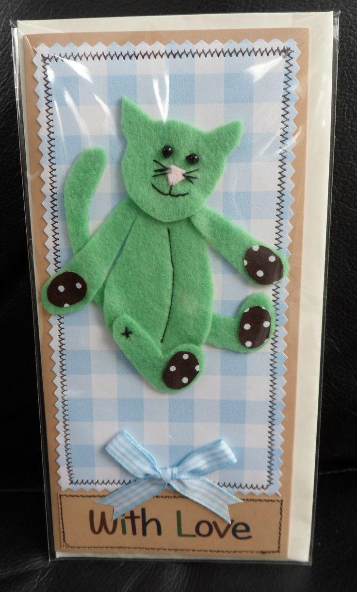 machine sewn felt cat card