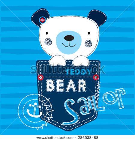 cute teddy bear sailor boy, T-shirt design vector illustration - stock vector