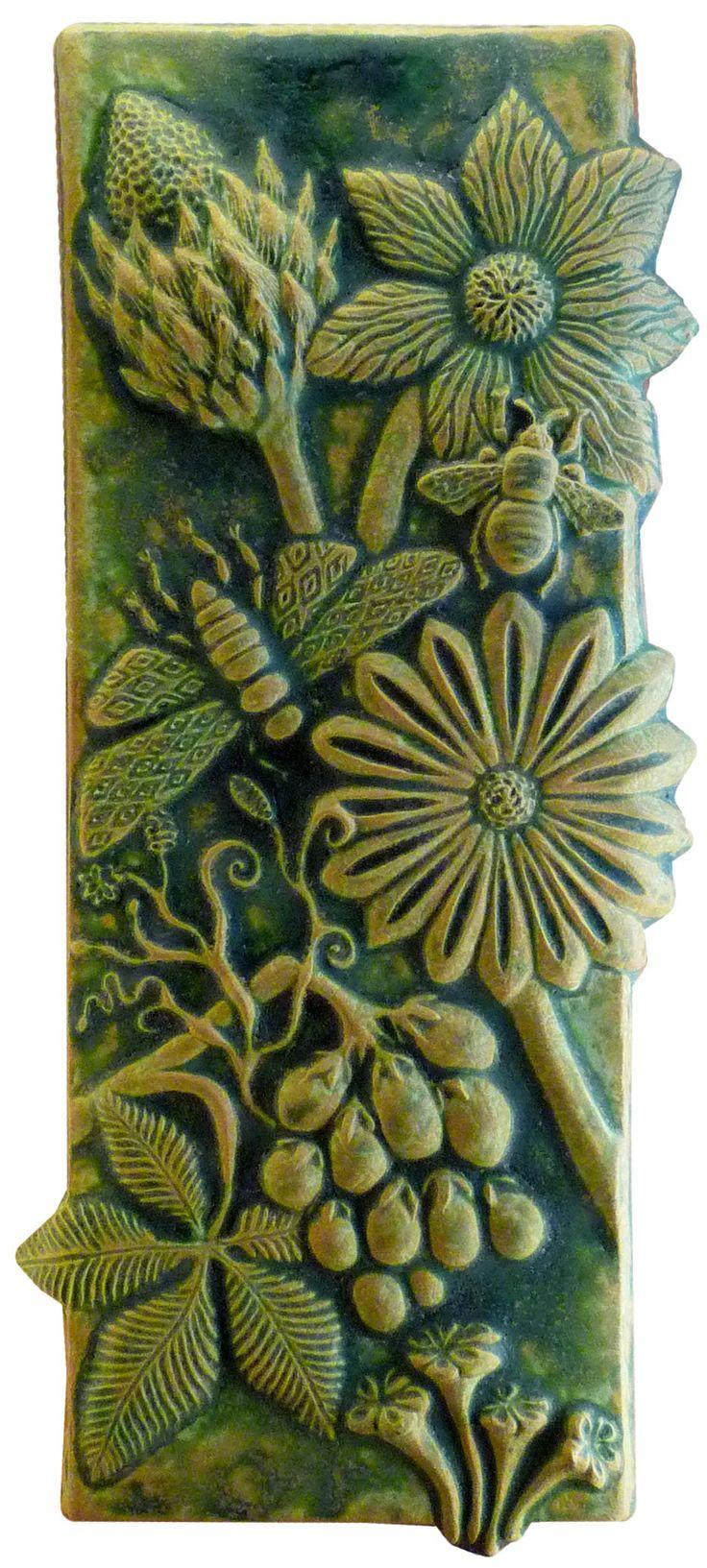 """Botanical & Bugs Ceramic Tile in Green Ochre"" Ceramic Wall Art Created by Beth Sherman"