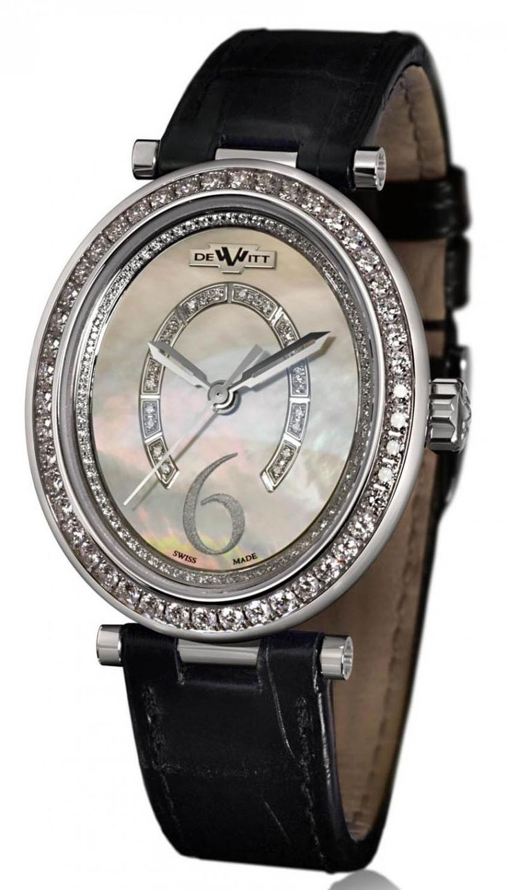 DeWitt AL.004 Alma Automatic - швейцарские женские часы наручные, золотые с бриллиантами, белые