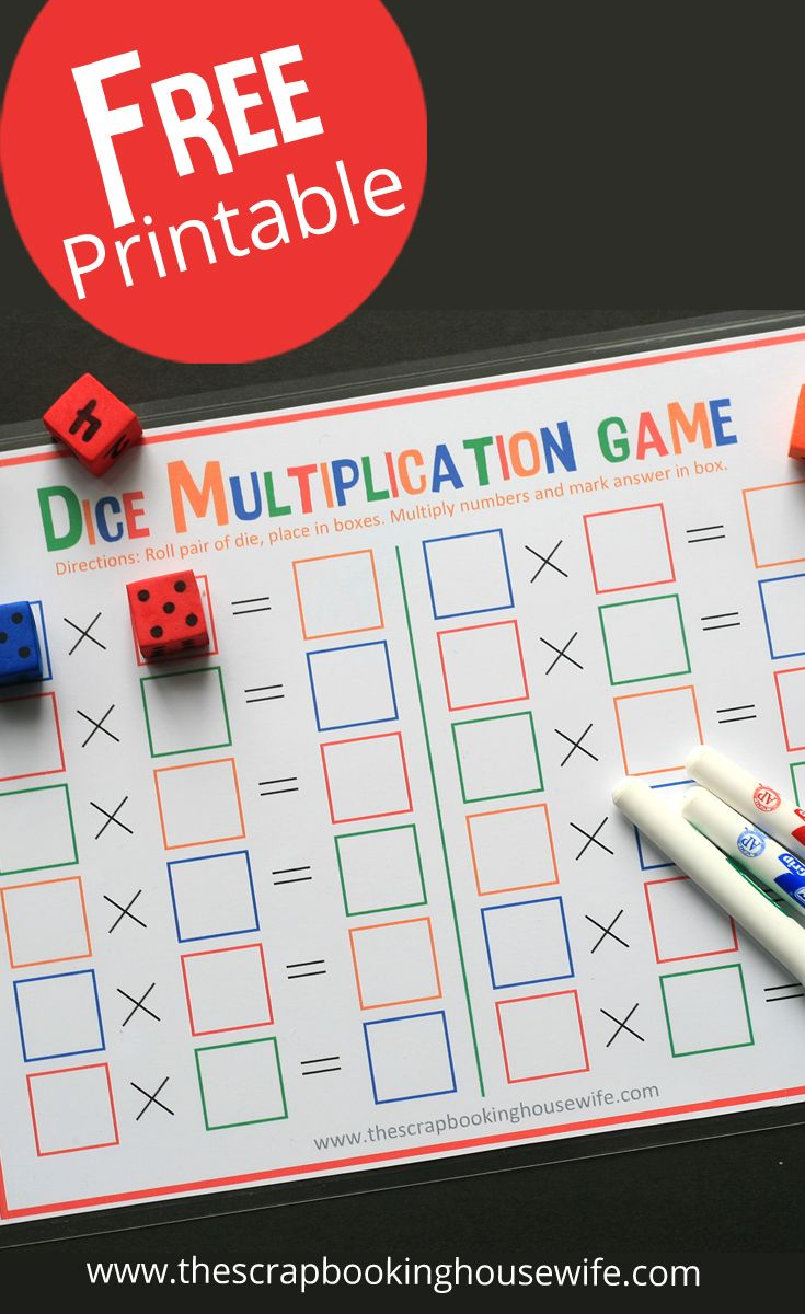 Dice Multiplication MATH Game for Kids - Free Printable!