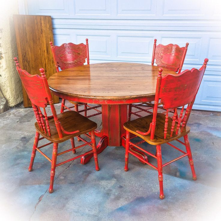 Red, Country Kitchen Table, oak, table and chair set, farmhouse kitchen table, red kitchen table, oak kitchen table, vintage kitchen table, French country kitchen table, shabby chic kitchen table, large, distressed kitchen table, distressed, dining room table, shabby chic, kitchen table, w/ leaf, four chairs, farmhouse furniture, by ReincarnatedwithLove on Etsy https://www.etsy.com/listing/510777991/red-country-kitchen-table-oak-table-and