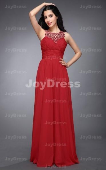 red gown dresses  ,Leaves Neckline A-line Jewel Floor-length Dress,