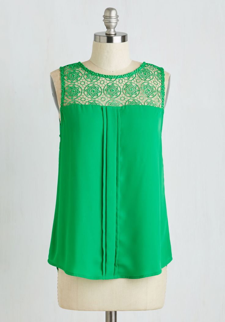 Yard Sale Savant Top. You can spot an antique chiffonier from a mile away - one that youre going to need to store your darling collection of sleeveless blouses, like this kelly green one! #green #modcloth