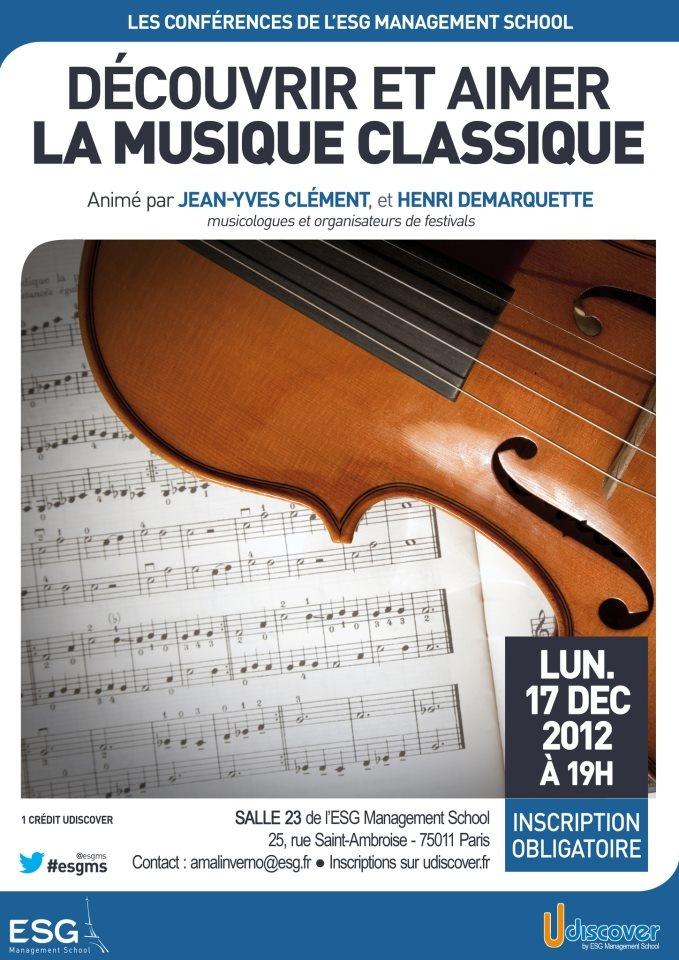 Découvrir et aimer la musique classique - Conférence animée par Jean-Yves CLÉMENT et Henri DEMARQUETTE, musicologues et organisateurs de festival.