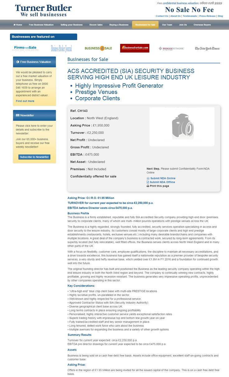 Business for sale ACS ACCREDITED (SIA) SECURITY BUSINESS SERVING HIGH END UK LEISURE INDUSTRY Highly Impressive Profit Generator Prestige Venues Corporate Clients Ref. CH143 Location North West (England) Asking Price £1,950,000 RupertCattell TurnerButler we sell business Rupert Cattell Business for sale Turner Butler Testimonial Successful Business Broker Selling your business wesellbusiness #turnerbutler #businessesforsale #Sellingyourbusiness #Business for sale #Businessesforsale