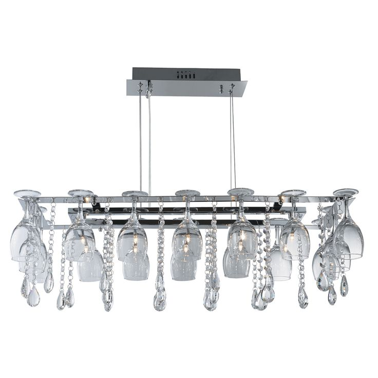 10 Light Chrome Ceiling Crystal On Drops And Wine Glass Trim