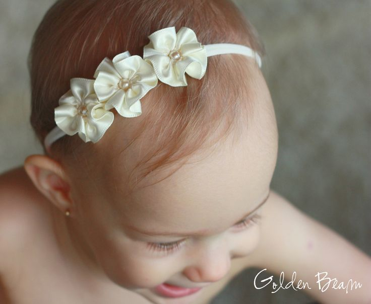 Flower Girl Headband 3 Ivory and Pearl Flowers by GoldenBeam