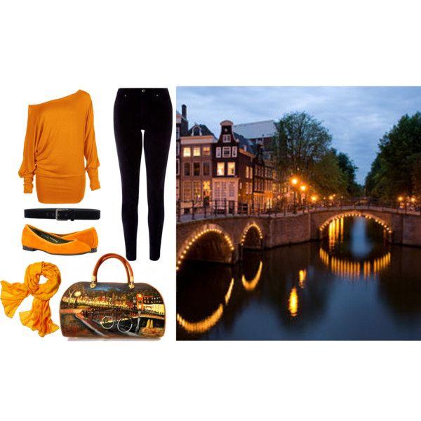 """Dreaming Amsterdam"" by malusagd on Polyvore Borsa dipinta a mano  http://hanulstyle.com/prodotto/ba69-borsa-in-pelle-sognando-amsterdam/ #handmade #borsedipinte #paintedbag"