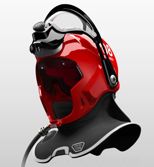 """""""C-Thru""""helmet designed to help firefighter walk through dense smoke during smoke diving search and rescue missions - designed by Omer Haciomeroglu"""