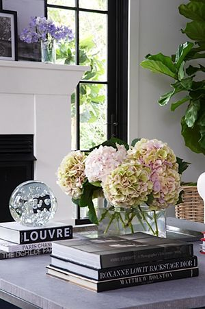 A Preppy Home with a Flair for Fun// simple styling, hydrangeas