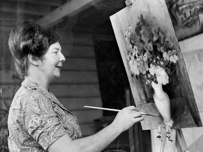 Artist Margaret Olley at work in 1964