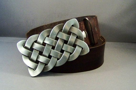 Vintage Brown Leather Belt with Abstract Buckle by 4MLeatherDesign, $72.00