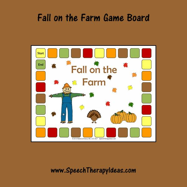 Fall on the Farm Game Board and Sentences