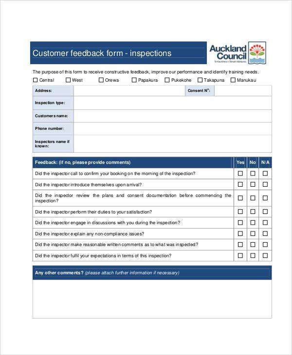 Customer Feedback Form Template New Sample Customer Feedback Form 8 Examples In Word Pd Customer Satisfaction Survey Template Customer Feedback Survey Template
