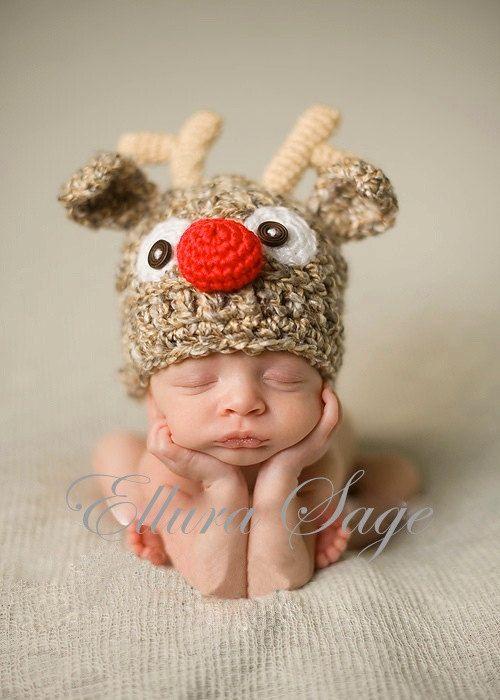 Reindeer Hat Crochet Reindeer Hat Baby Boy or Girl by ElluraSage, $24.95