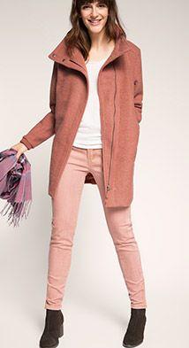 Esprit / Mantel met asymmetrisch voorpand