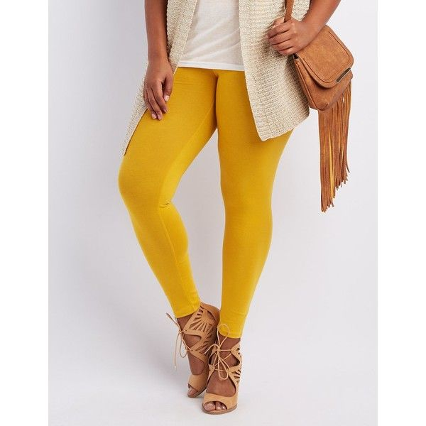 Charlotte Russe Plust Size Stretch Cotton Leggings ($11) ❤ liked on Polyvore featuring plus size women's fashion, plus size clothing, plus size pants, plus size leggings, yellow, legging pants, charlotte russe leggings, stretch waist pants, low rise leggings and yellow pants