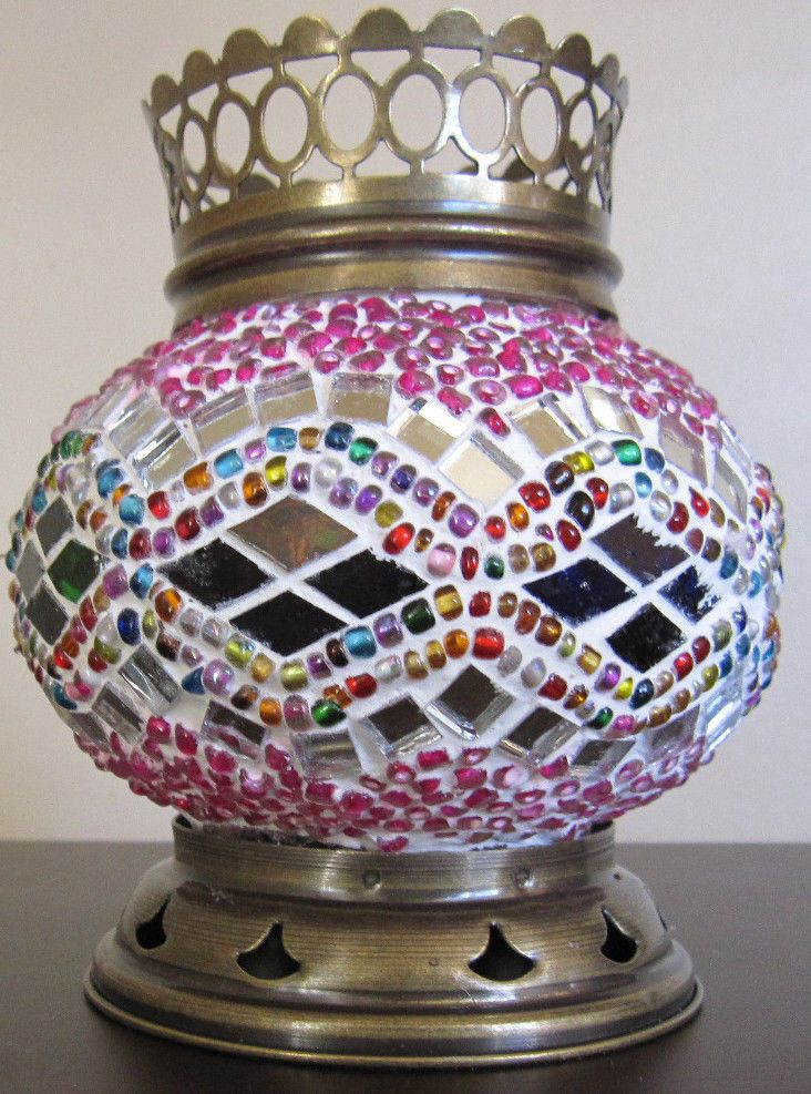 Turkish Moroccan Handmade Brass Mosaic Candleholder Tealight  Medium
