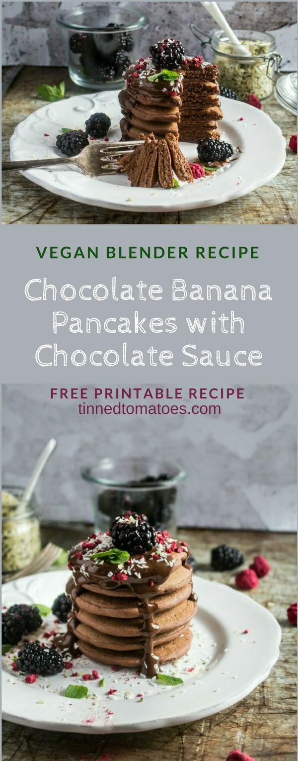 Healthier chocolate pancakes made with oats, banana, chia seeds and cocoa. Served with a chocolate ganache sauce. The sauce is optional, but totally delicious. These pancakes are dairy free and vegan. Free printable recipe. www.tinnedtomatoes.com #pancakes #veganpancakes #vegan #shrovetuesday #pancakeday #bananapancakes #chocolatepancakes #healthier #pancake #blenderrecipe