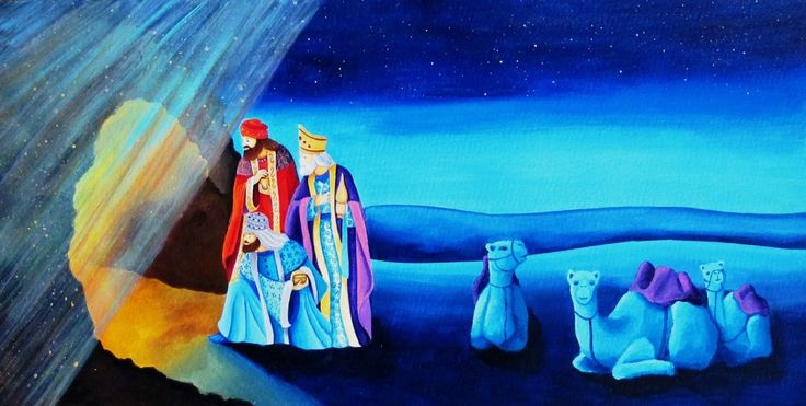 Sofia Filea www.facebook.com/sofiafileasart illustration, christmas, star, bethlehem start, jesus birth, cave, three wise men, camels