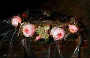 Wreath of pink roses and myrtle - Johan Laurentz (J.L.) Jensen - The Athenaeum/ Coronita cu trandafiri roz si mirt