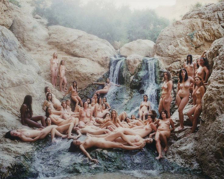 SPENCER TUNICK  Dead Sea 15, 2011 Dye coupler on aluminum mounted to Plexiglas Besides nudity in general as I learned reading about Spencer Tunick's work, this piece seems to protest that not all models have to have perfect bodies.  I see fat and not so perky beasts on several of the models and they are still beautiful.