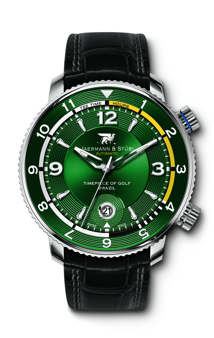 Jaermann & Stübi, the Timepiece of Golf, is paying tribute to Brazil, host of the 2016 Olympic Games, a global event made all the more signifcant by golf's return as an Olympic sport in August 2016.  Jaermann & Stübi's flagship «Royal Open» collection is therefore presenting a new series of models to celebrate the Olympic return (after 112 years of absence) of golf – the world's most practised individual sport. #JOBrazil #golfwatch #jaermannstuebi #timepieceofgolf