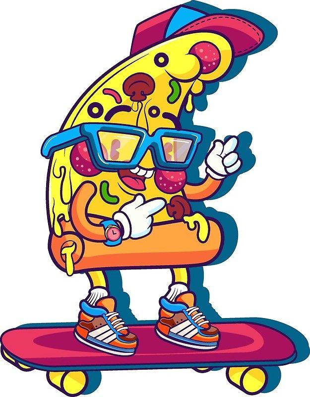 Pizza Skateboard Funny Pizza Cartoon Pizza Cartoon Skateboard Funny Skateboard Photographic Print By Sunnyshop Pizza Art Graffiti Characters Pizza Cartoon