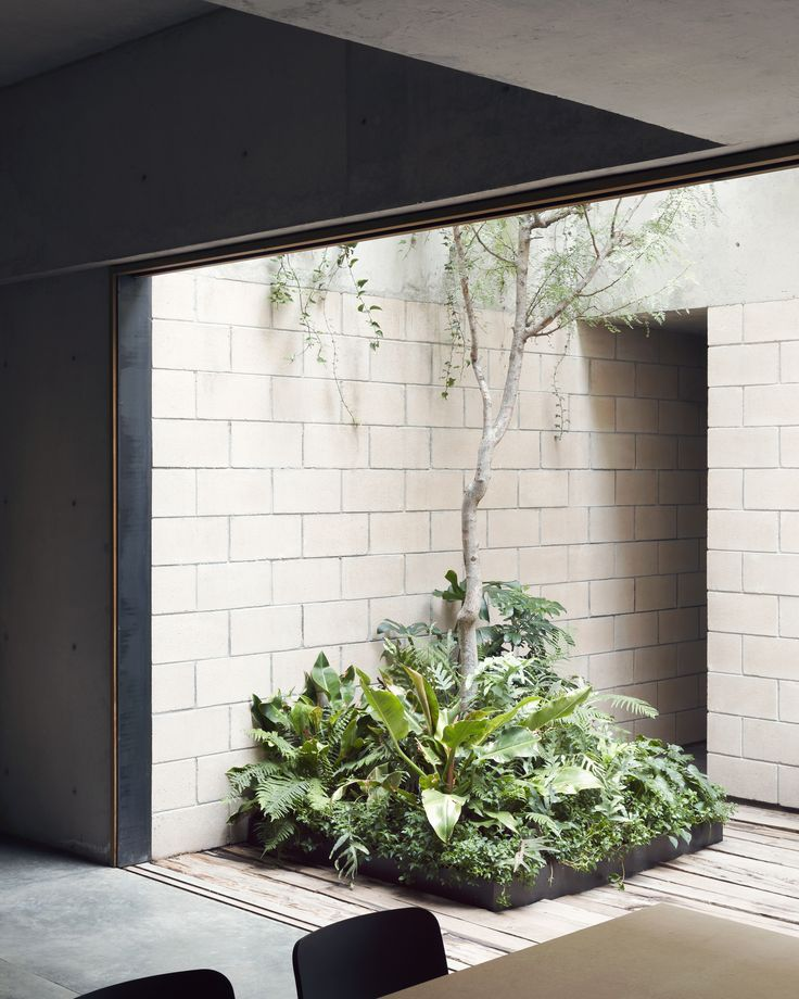 Inside outside space. Planter against raw hard materials!