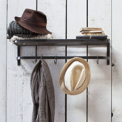 Raw steel wall mounted luggage rack style shelf and hanging rail with 4 storage hooks.