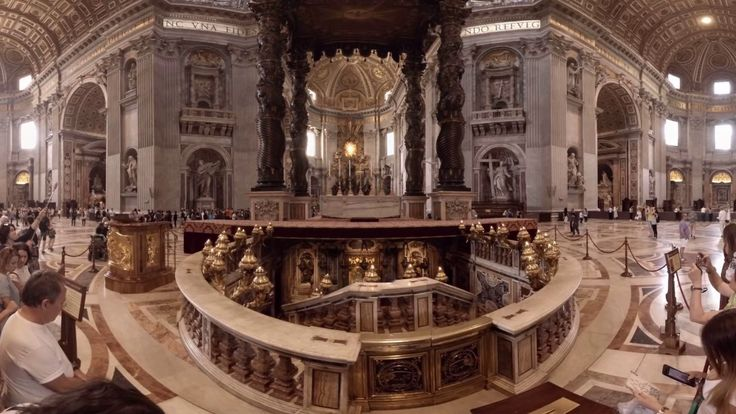 360 video: Basilica Sancti Petri, Rome, Italy / virtual reality / VR: A Renaissance church located in the Vatican City and the largest church building in the world, with the interior area spreading across 15,160 m2. It is filled with masterpieces by many well-known Baroque and Renaissance artists (e.g. Bernini's Baldacchino or Michelangelo's statue called Pietà). The remnants of St. Peter are placed in St. Peter's tomb under the Basilica.