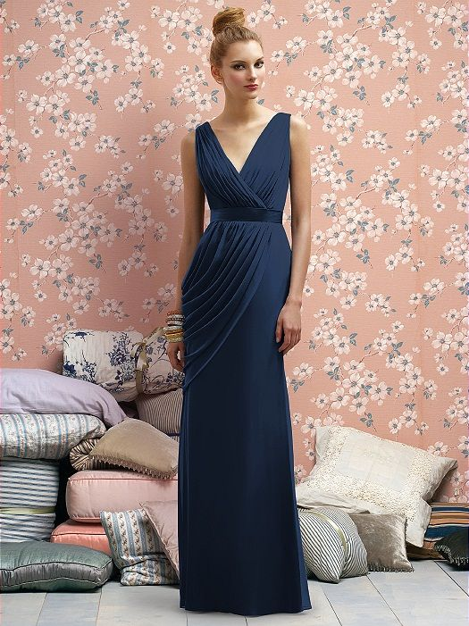 Full length crinkle chiffon dress w/draped v-neckline and swag detail at side skirt.  Belt always matches dress. Sizes available 00-30W, and 00-30W extra length.   http://www.dessy.com/dresses/lelarose/lr174/