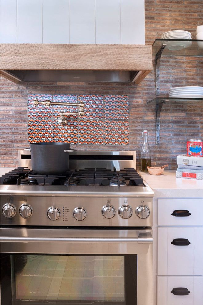 Comely Ann Sacks Backsplash Decorating Ideas in Kitchen Eclectic design ideas with Comely black cup pulls cup pulls glass shelves marble countertops pot filler reclaimed