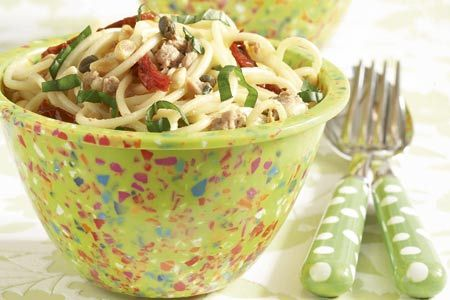 Σπαγκέτι με τόνο, κάππαρη, κουκουνάρια και βασιλικό - Συνταγές   γαστρονόμος